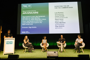"Olga Subirós moderates at Sónar+D CCCB the session about ""Catalonia in Venice - AIRE/ARIA/AIR"""